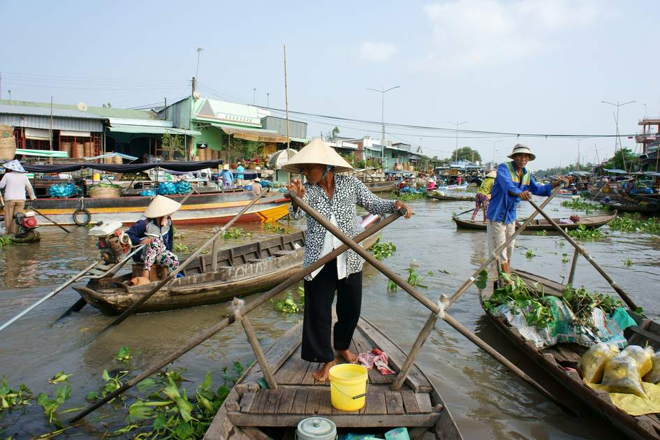 A floating market, Vietnam.