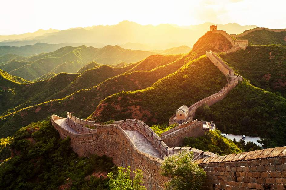 The Great Wall of China under sunshine during sunset