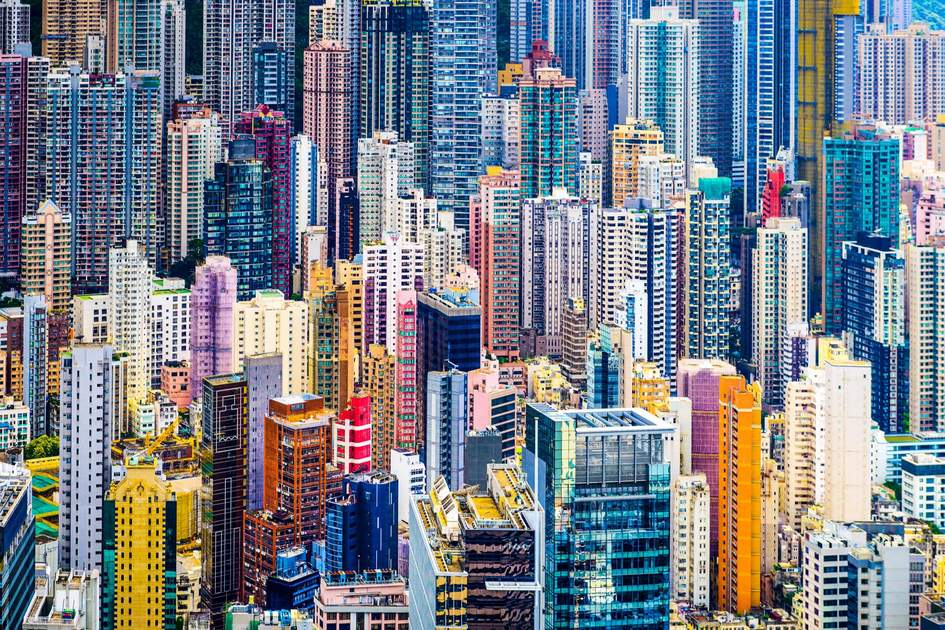 Hong Kong's dense cityscape of tall buildings