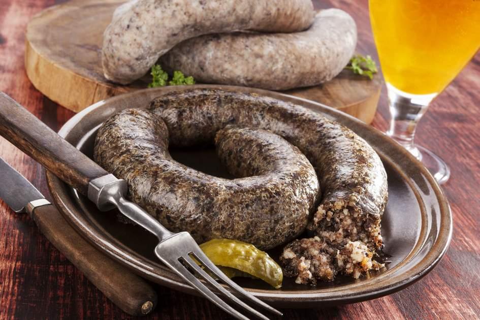 Foreging food: blood sausage