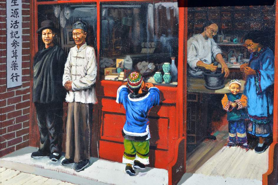 Chinatown: A mural in Vancouver telling the story of the local Chinese community.