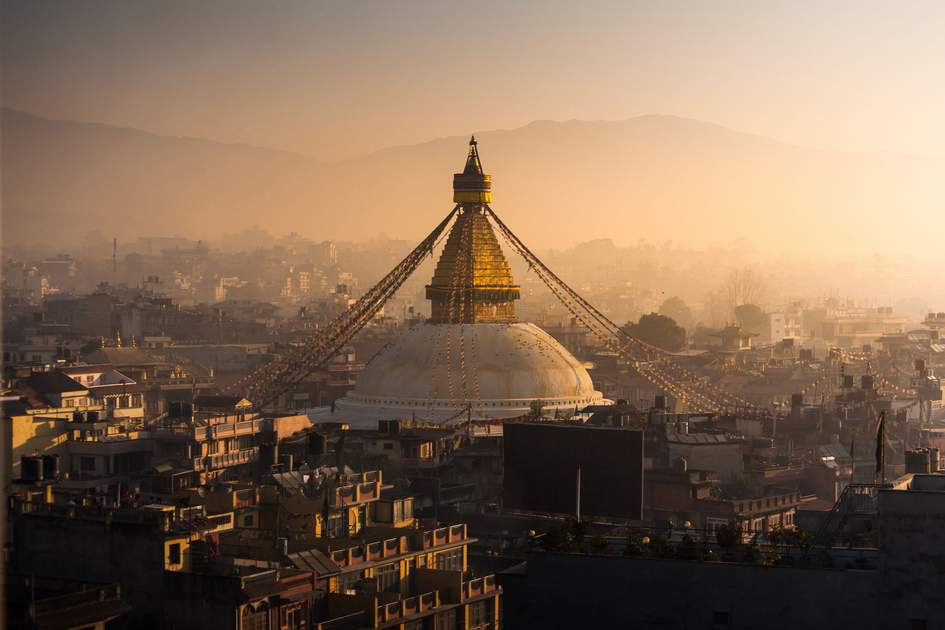 Sunrise at Boudhanath, Nepal