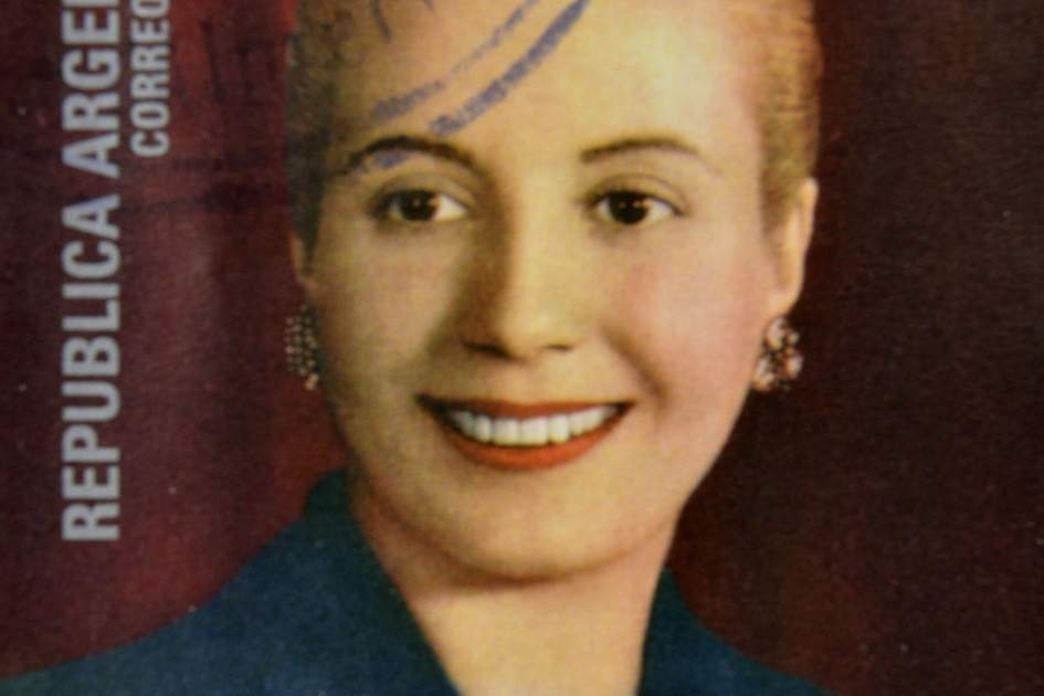 A commemorative Argentina stamp of Eva Perón (Evita)