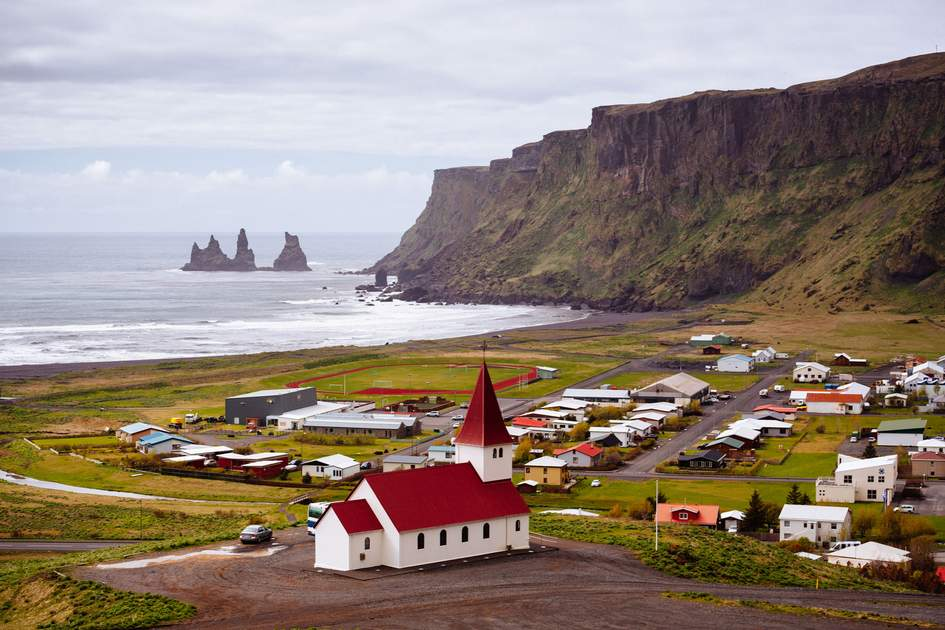 The coastal town of Vik in Iceland.