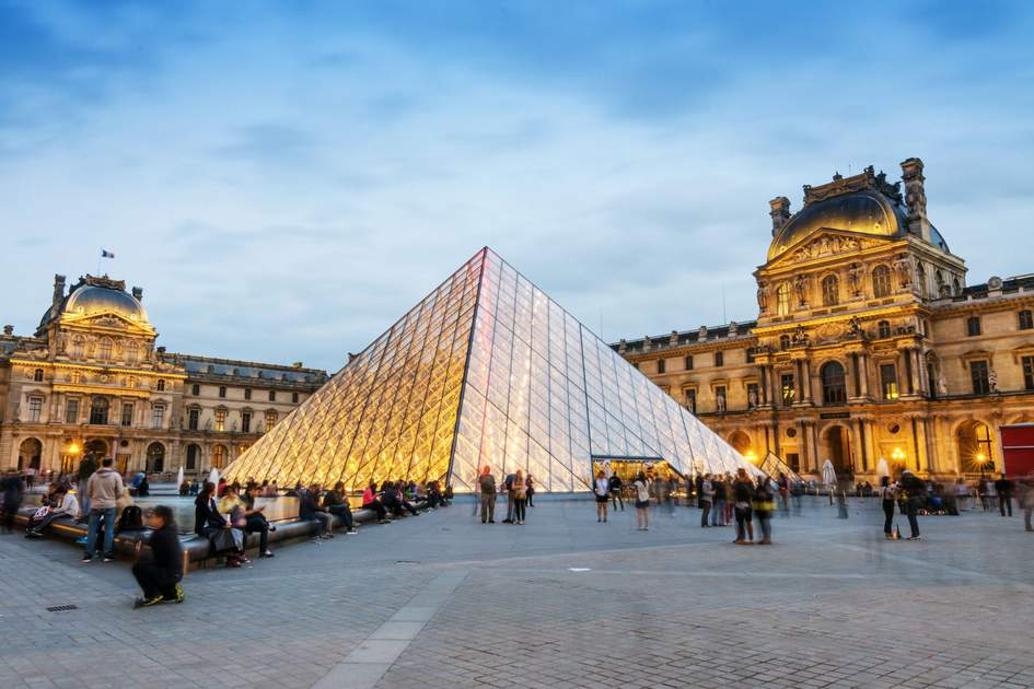 Tips for visiting Paris: Old and new architecture in perfect harmony at the Louvre.