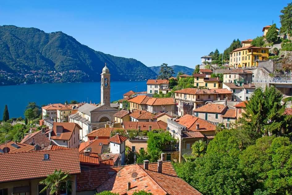 The Italian Lakes: The town of Cernobbio on Lake Como.