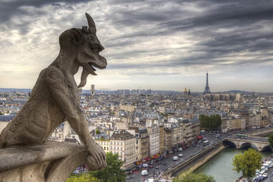 Gargoyle (chimera) on Notre Dame de Paris