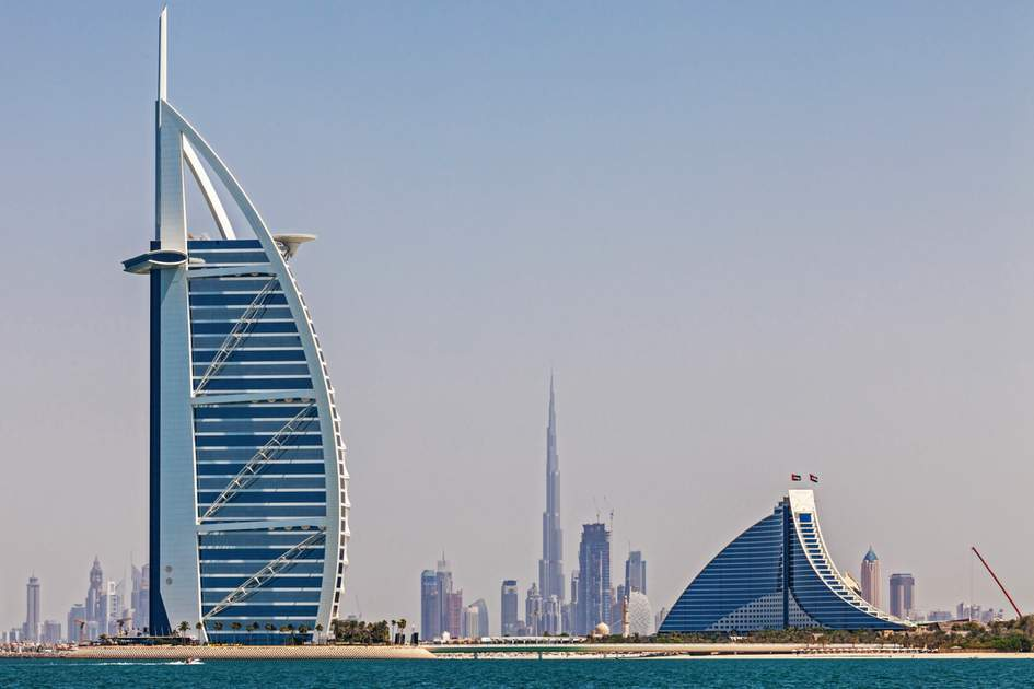 The UAE: Dubai's skyline, seen from the water