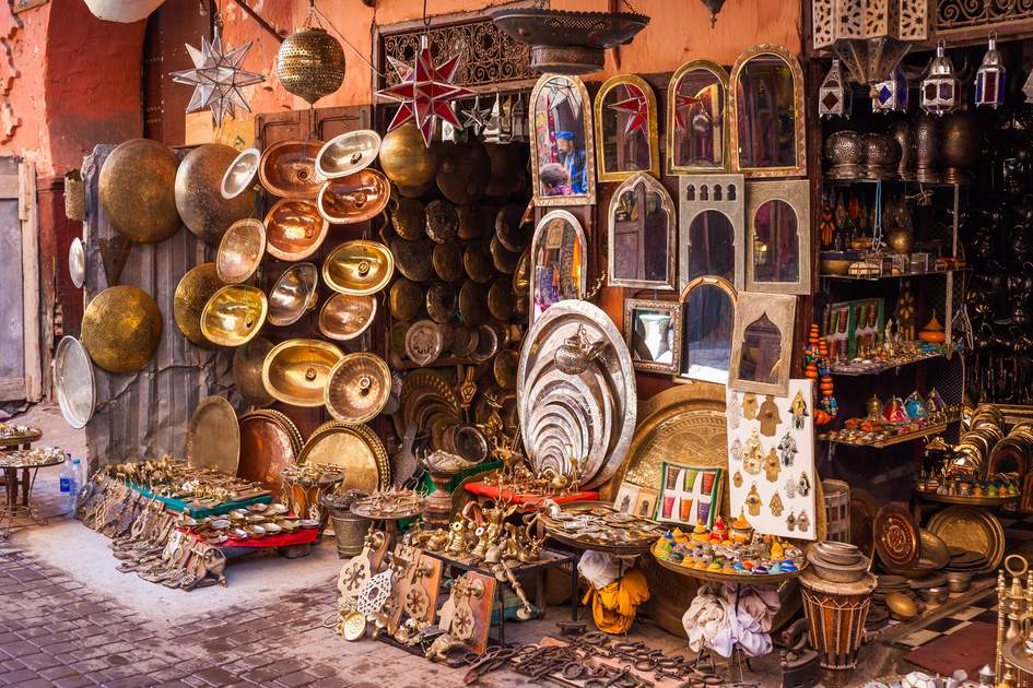 Metalwork on sale in the souks of Marrakech, offered alongside carpets, spices, lanterns, jewelry, and pottery. Photo: Shutterstock