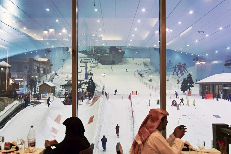 Lunch overlooking the slopes at Ski Dubai