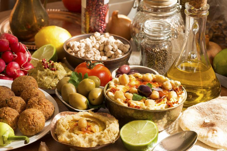Middle Eastern food: Hummus and falafel meal with ingredients