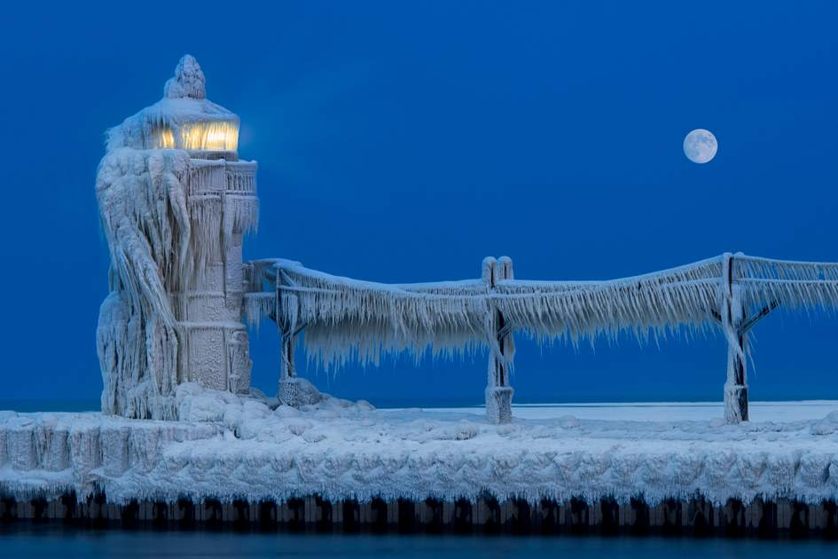 North Pier Lighthouse shrouded in ice, St Joseph, Lake Michigan