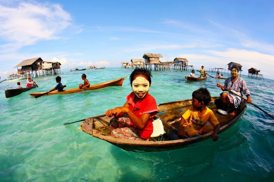 Sea gypsies near Semporna, southeast Sabah, Malaysia.