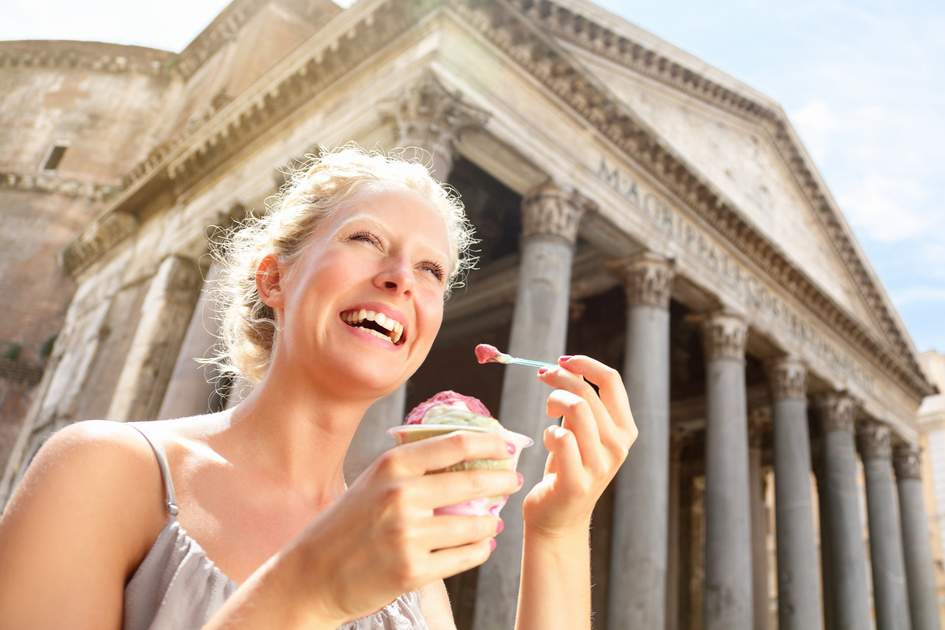 Girl eating ice cream by Pantheon, Rome