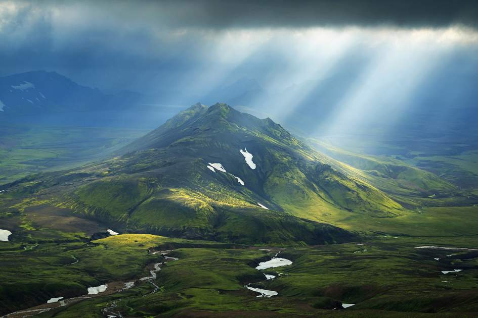 Mountain on the Laugavegur hiking trail in Iceland