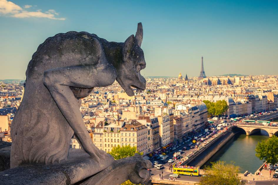 Things to do in Paris: A Notre-Dame gargoyle enjoys a panoramic view of Paris