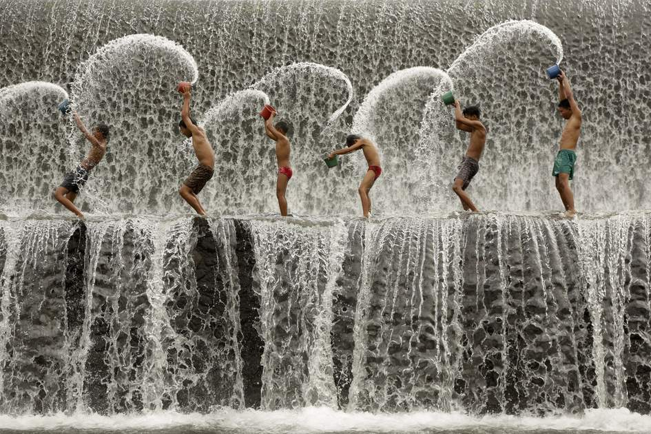 Splashing around in the Unda River, Bali