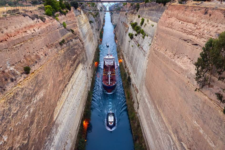 A few small ships pass through the 23-metre (75foot) -wide Corinth Canal in Greece.