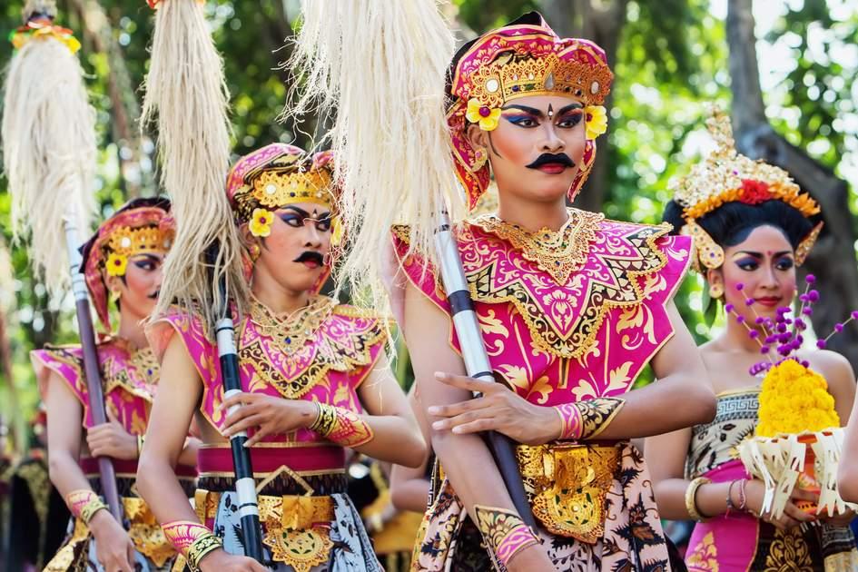 Balinese warrior costumes on parade at Bali Art Festival in Denpasar, Bali