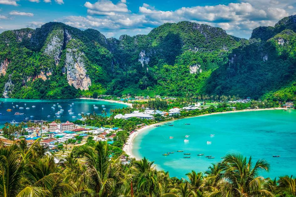 Tropical island with resorts - Phi-Phi island, Krabi Province, Thailand