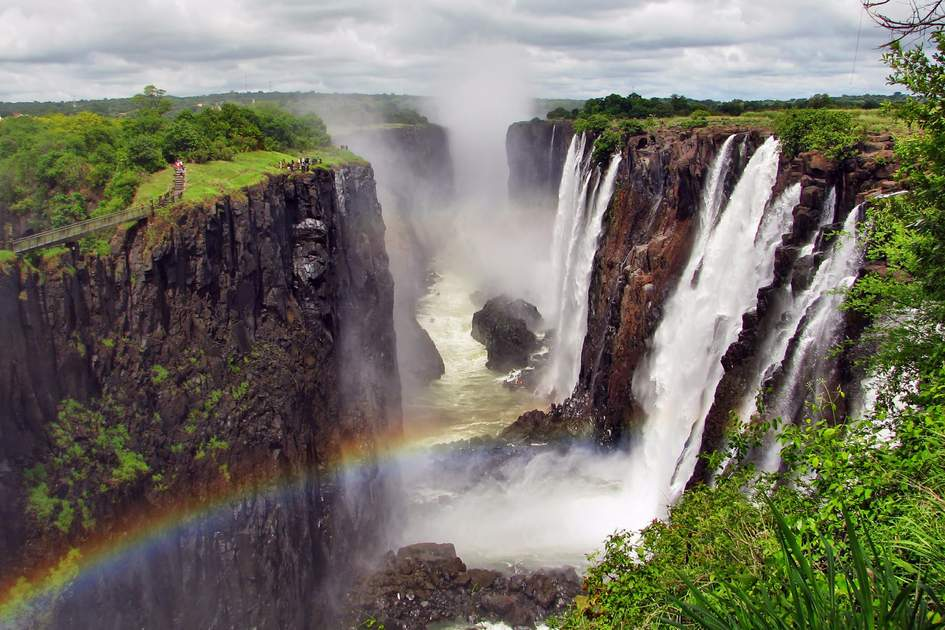 Rainbow over Victoria Falls on the Zambezi River