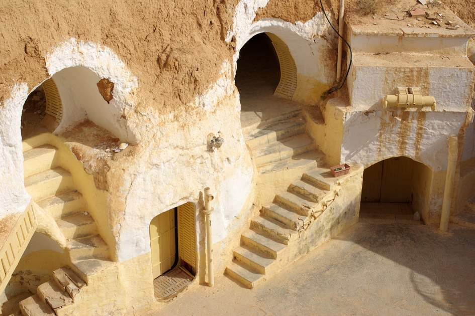 The Ksour region of southern Tunisia is known for its cave dwellings, including the unique troglodyte houses of Matmata. The Hotel Sidi Driss, in Matmata, features in Star Wars IV A New Hope as Luke Skywalker's house.