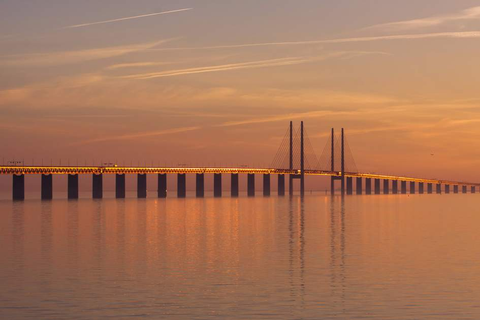 Sunset over the Øresund Bridge
