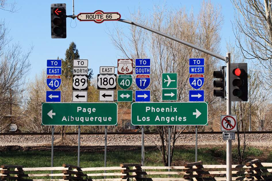 Route 66 intersection signs in Flagstaff, Arizona