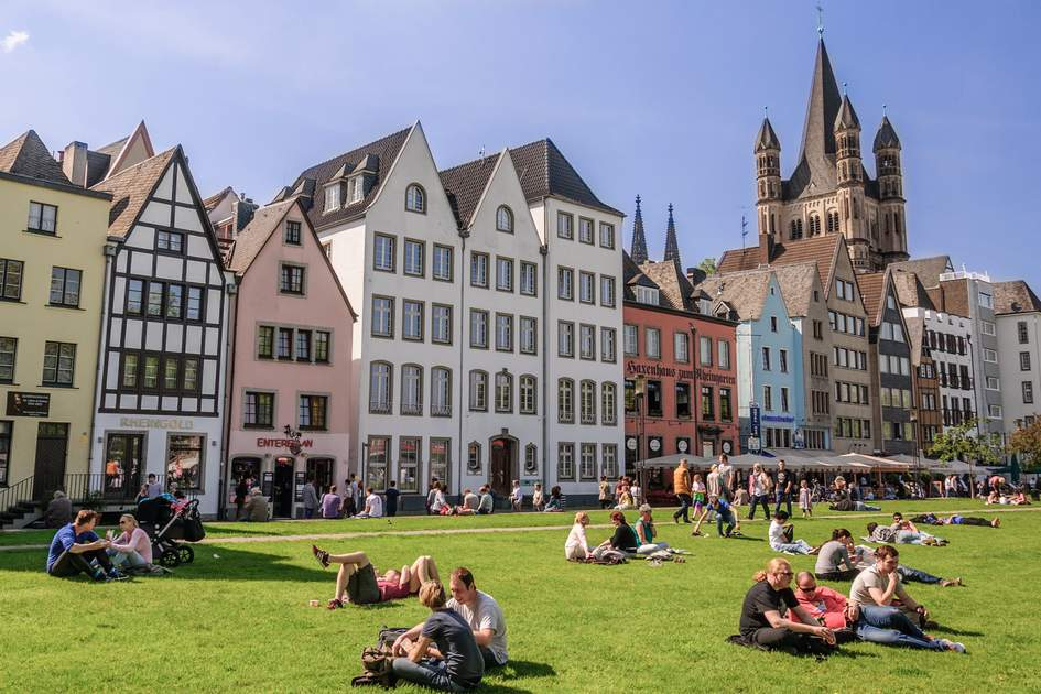 Enjoying the sunshine in Cologne, Germany