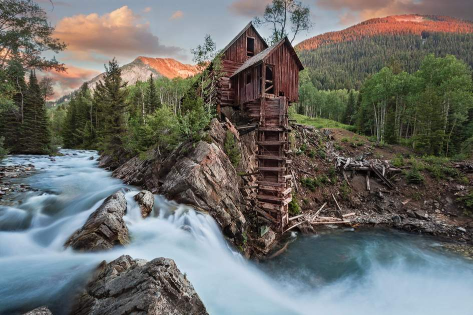 Crystal River sunset with Crystal Mill in Colorado