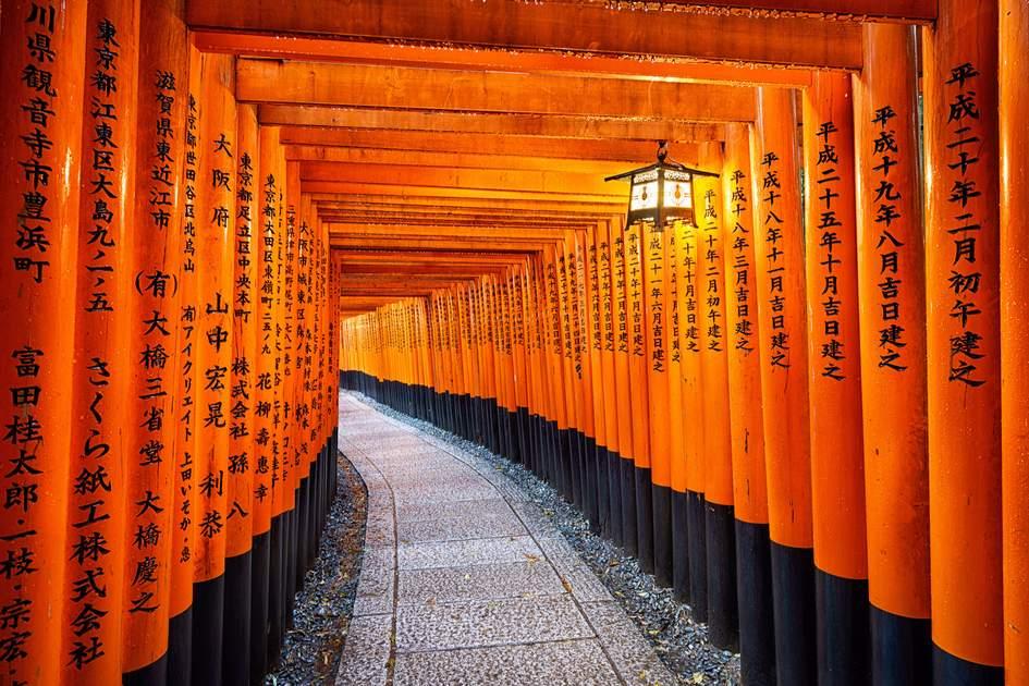The pathway to the Fushimi Inari Shrine, Kyoto, Japan