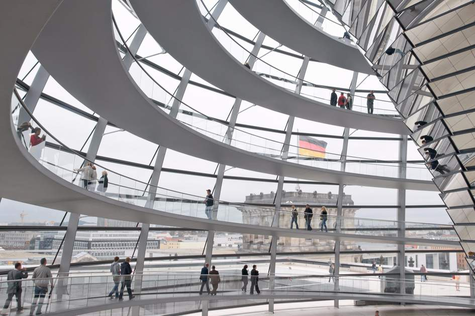 Inside the Reichstag's dazzling cupola