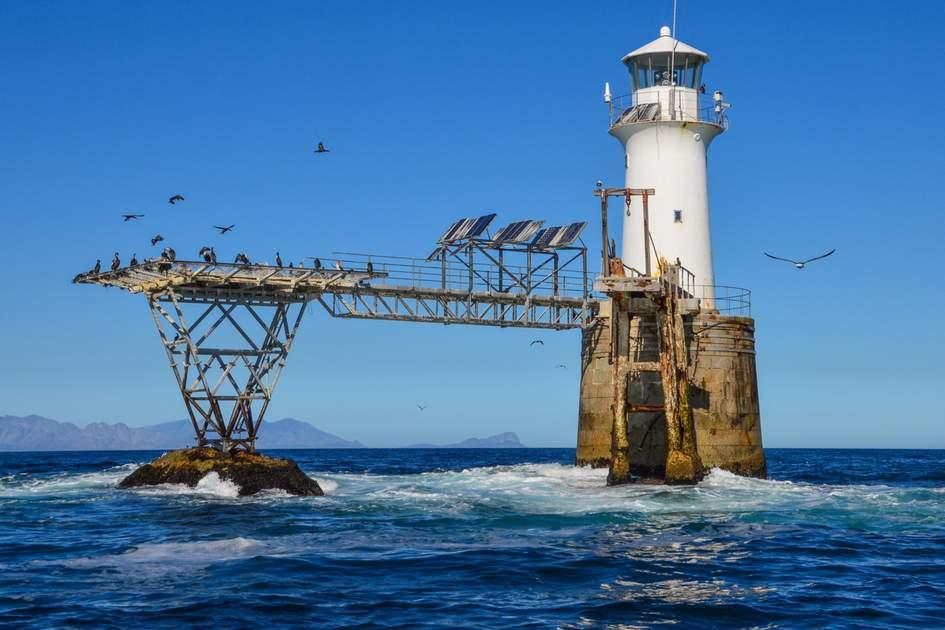 Roman Rock Lighthouse in False Bay, South Africa