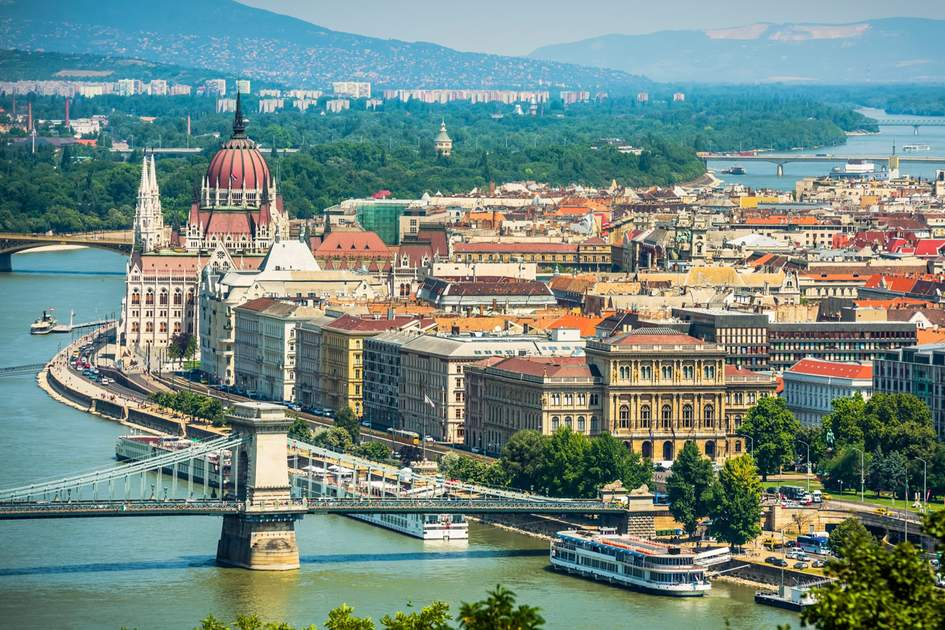 The Danube wends its way through Budapest.