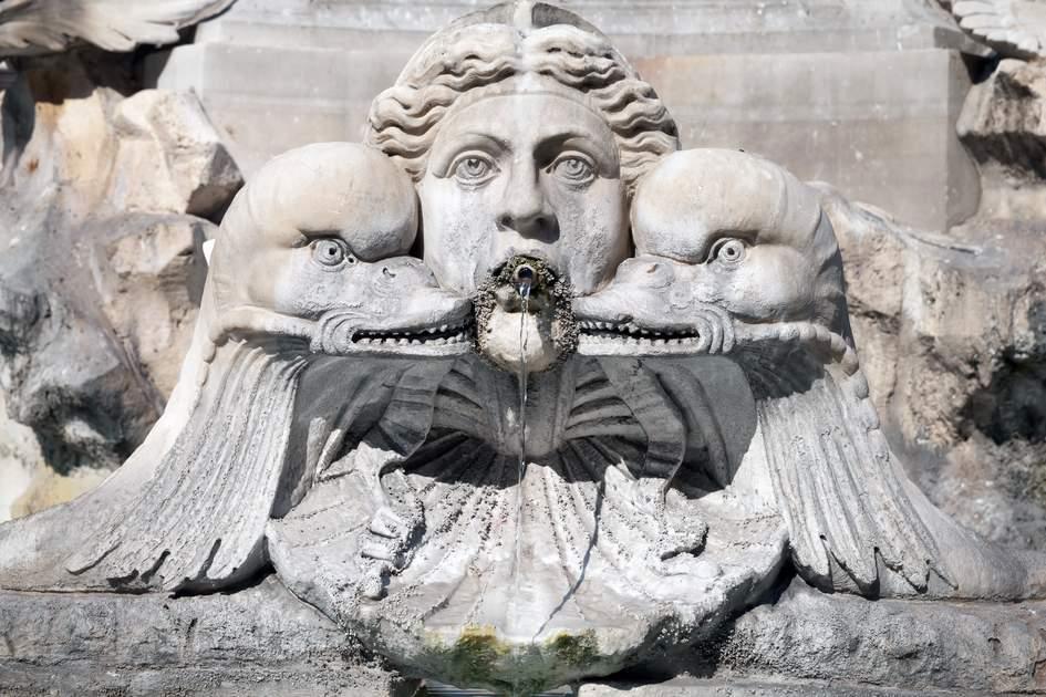 Fountain detail on Piazza della Rotonda in Rome