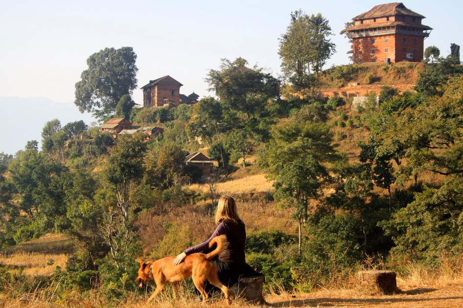 Trekkers explore the trails around Nuwakot while hiking in Nepal