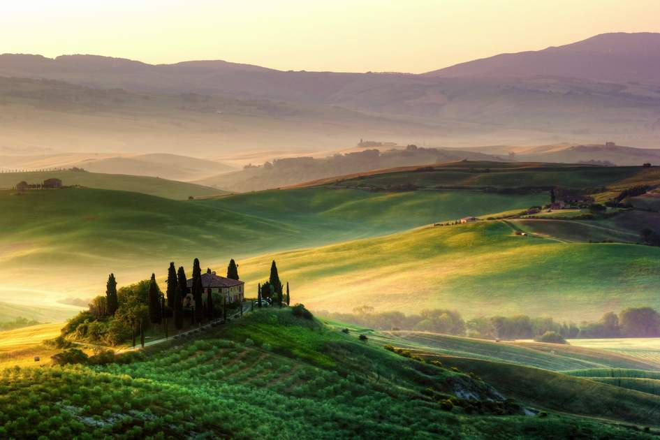 Landscape panorama, hills and meadow, Tuscany, Italy