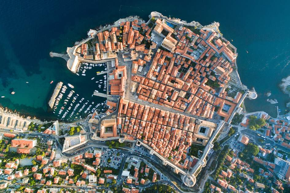 Aerial view of the old town, Dubrovnik, Croatia