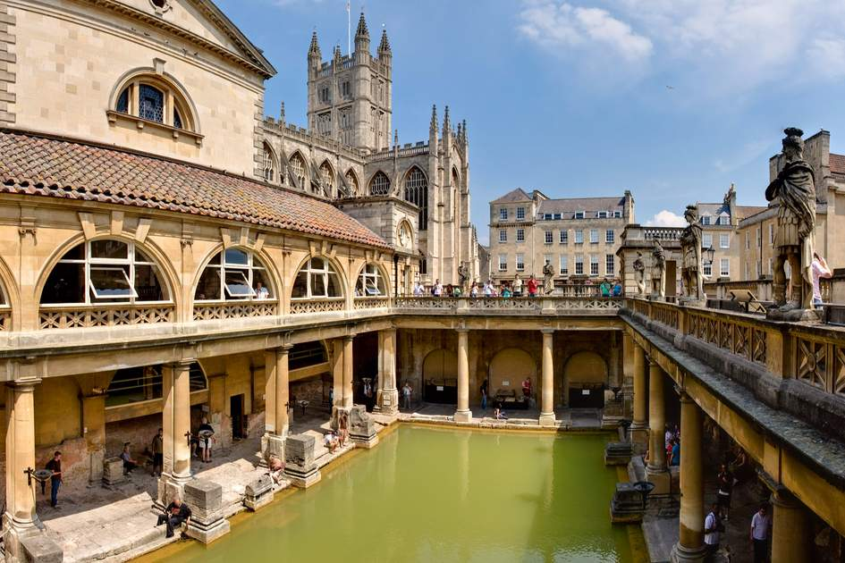 Roman Baths in Bath Spa, England.