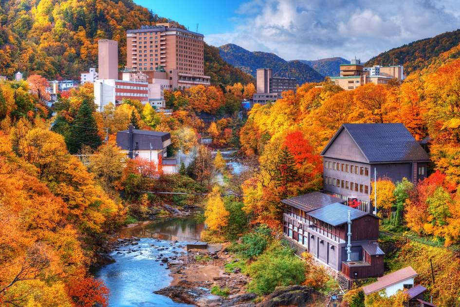 A hot springs resort town on Hokkaido, Japan