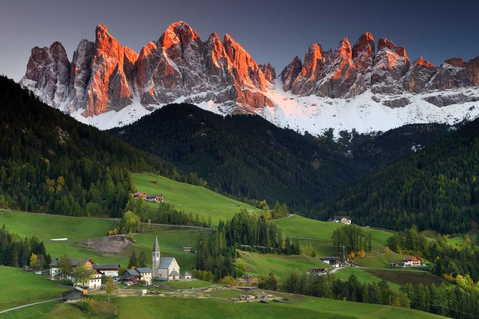 Santa Maddalena village in the Dolomites, Italy