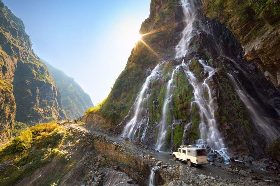 Roadside waterfall in the Annapurnas, Nepal