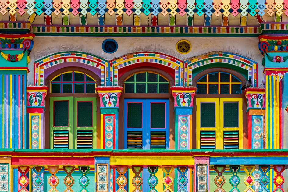 Colourful buildings in Little India, Singapore
