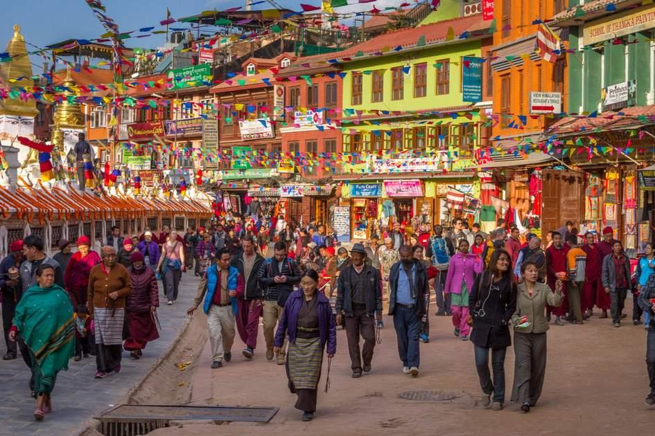Streetlife near the Boudhanath temple in Kathmandu, Nepal