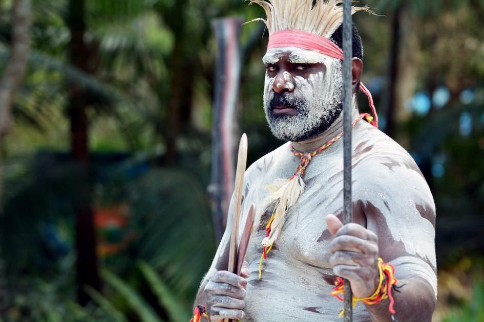 Yugambeh warrior at the Aboriginal culture show in Queensland, Australia