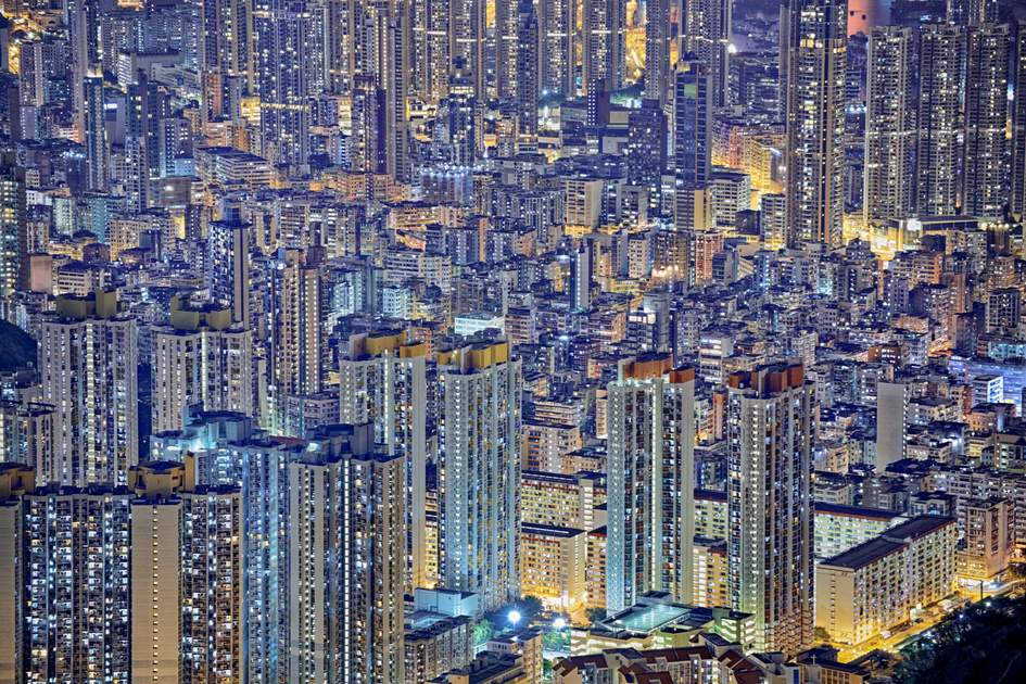 The dense Hong Kong skyline