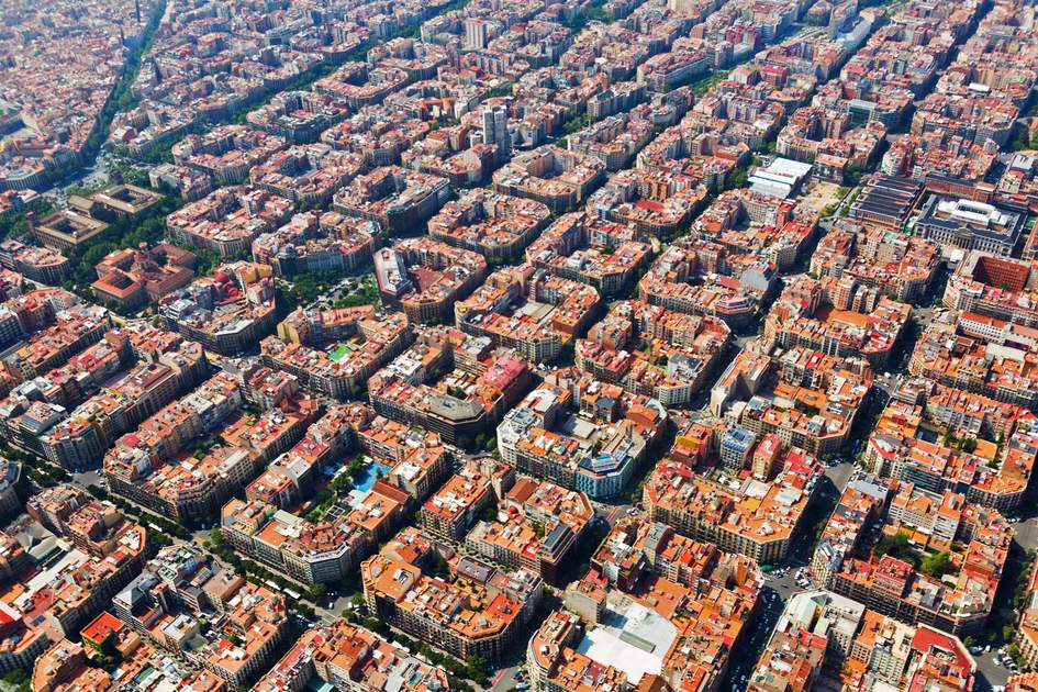 Aerial view of typical buildings at Eixample residential district. Barcelona,
