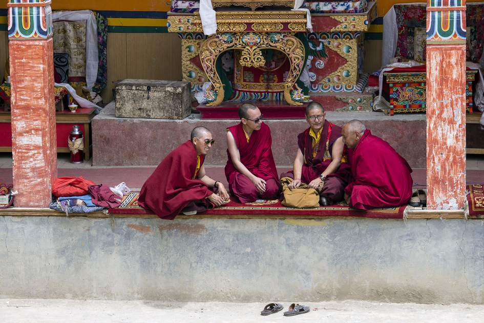 Buddhist monks during the Yuru Kabgyat Buddhist Festival at Lamayuru Gompa, Ladakh, North India