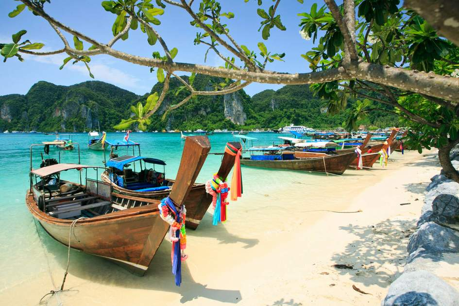 Long tail boats in Phi Phi Island, Thailand. Photo: Shutterstock
