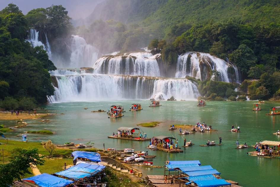 Visting Ban Gioc waterfalls by boat, Vietnam